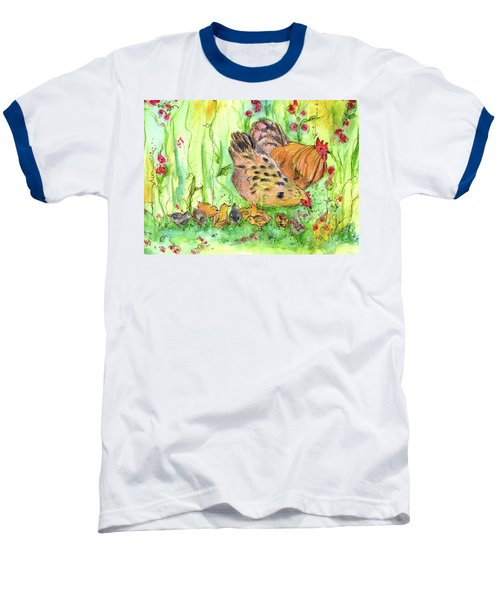 Baseball T-Shirt featuring the painting Chicken Family by Cathie Richardson