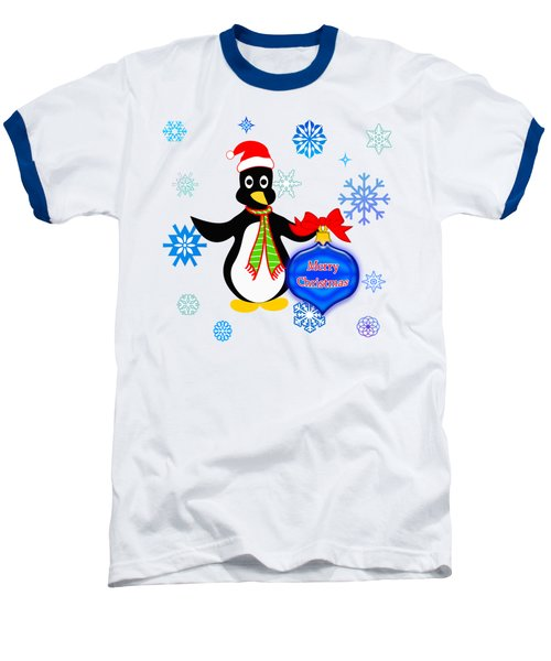 Christmas Penguin Baseball T-Shirt by Methune Hively