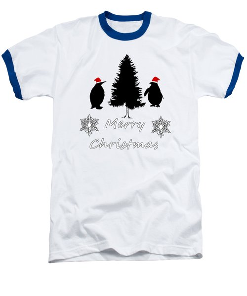 Christmas Penguins Baseball T-Shirt by Mordax Furittus