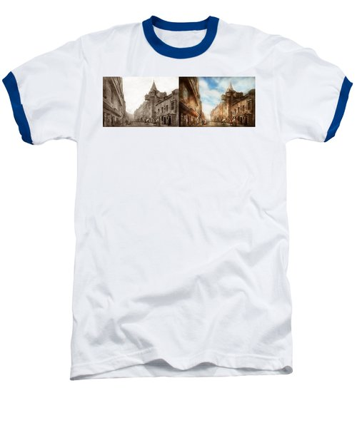 Baseball T-Shirt featuring the photograph City - Scotland - Tolbooth Operator 1865 - Side By Side by Mike Savad