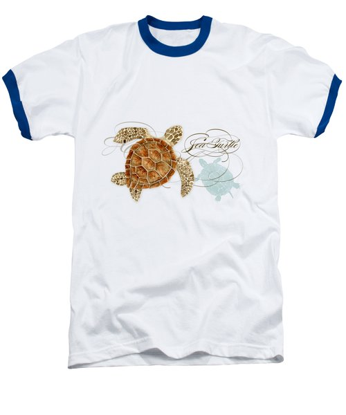 Coastal Waterways - Green Sea Turtle Rectangle 2 Baseball T-Shirt by Audrey Jeanne Roberts