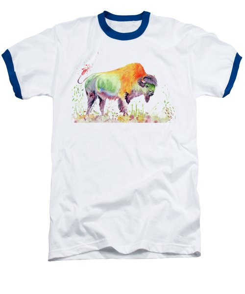 Colorful American Buffalo Baseball T-Shirt by Melly Terpening