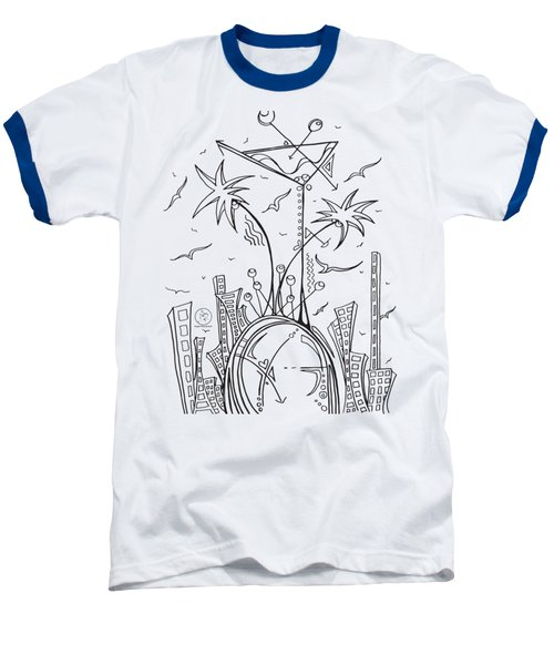 Coloring Page With Beautiful City Martini Drawing By Megan Duncanson Baseball T-Shirt by Megan Duncanson