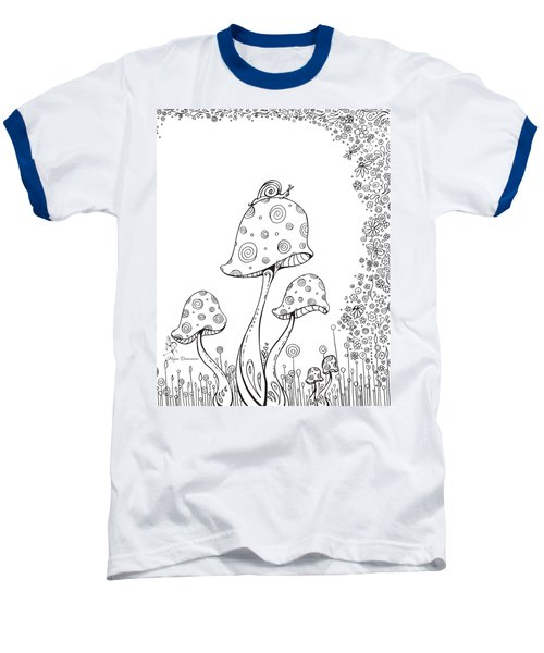 Coloring Page With Beautiful In The Garden 8 Drawing By Megan Duncanson Baseball T-Shirt by Megan Duncanson