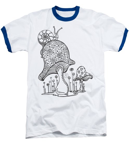 Coloring Page With Beautiful Mushroom And Snail Drawing By Megan Duncanson Baseball T-Shirt by Megan Duncanson