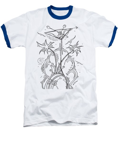 Coloring Page With Beautiful Tropical Martini Drawing By Megan Duncanson Baseball T-Shirt by Megan Duncanson