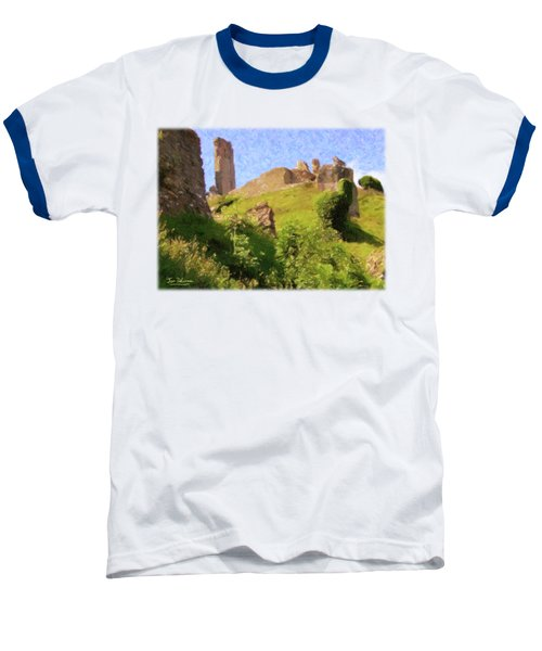 Corfe Castle Baseball T-Shirt by Jon Delorme