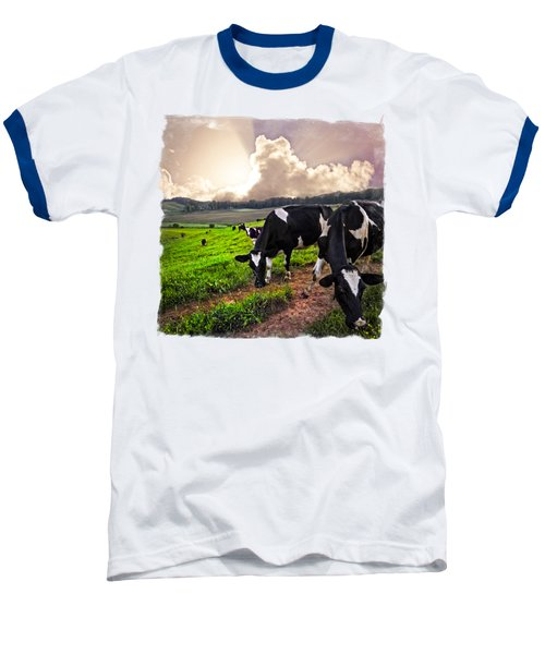 Cows At Sunset Bordered Baseball T-Shirt by Debra and Dave Vanderlaan