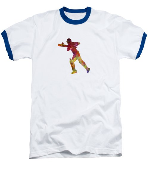 Cricket Player Batsman Silhouette 06 Baseball T-Shirt by Pablo Romero