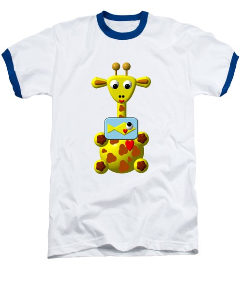 Cute Giraffe With Goldfish Baseball T-Shirt by Rose Santuci-Sofranko