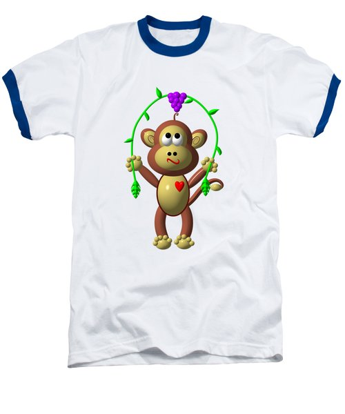 Cute Monkey Jumping Rope Baseball T-Shirt by Rose Santuci-Sofranko