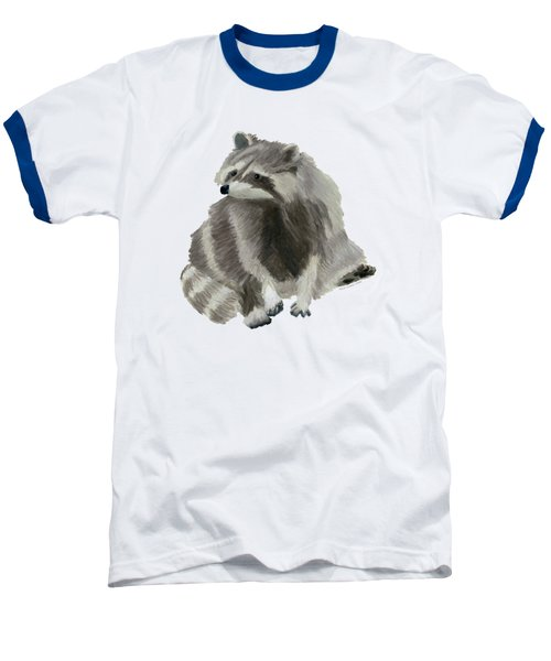 Cute Raccoon Baseball T-Shirt by Dominic White