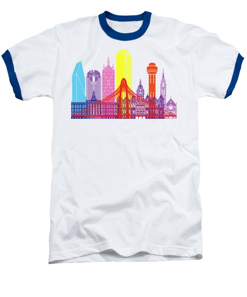 Dallas Skyline Pop Baseball T-Shirt by Pablo Romero