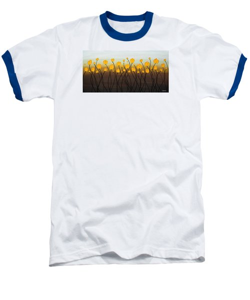 Baseball T-Shirt featuring the painting Dancing Tulips by Carmen Guedez