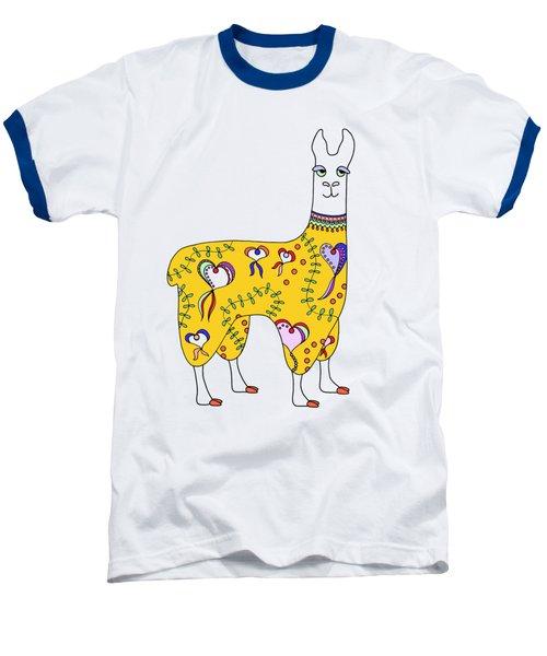 Difficult Llama Yellow Baseball T-Shirt by Sarah Rosedahl