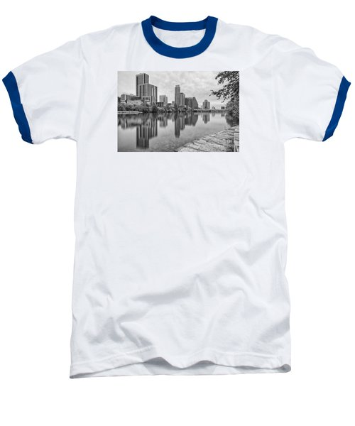 Downtown Austin In Black And White Across Lady Bird Lake - Colorado River Texas Hill Country Baseball T-Shirt by Silvio Ligutti