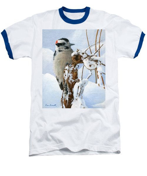 Downy Woodpecker  Baseball T-Shirt by Ken Everett