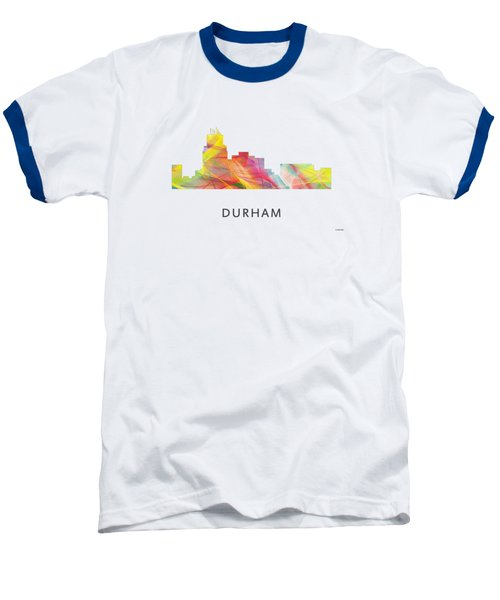 Durham North Carolina Skyline Baseball T-Shirt by Marlene Watson