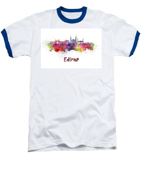 Edirne Skyline In Watercolor Baseball T-Shirt by Pablo Romero