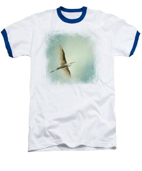 Egret Overhead Baseball T-Shirt by Jai Johnson
