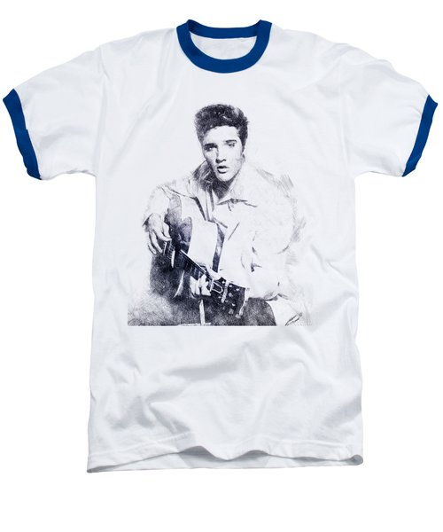 Elvis Presley Portrait 01 Baseball T-Shirt by Pablo Romero