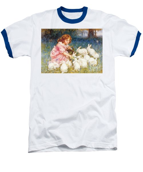 Feeding The Rabbits Baseball T-Shirt by Frederick Morgan