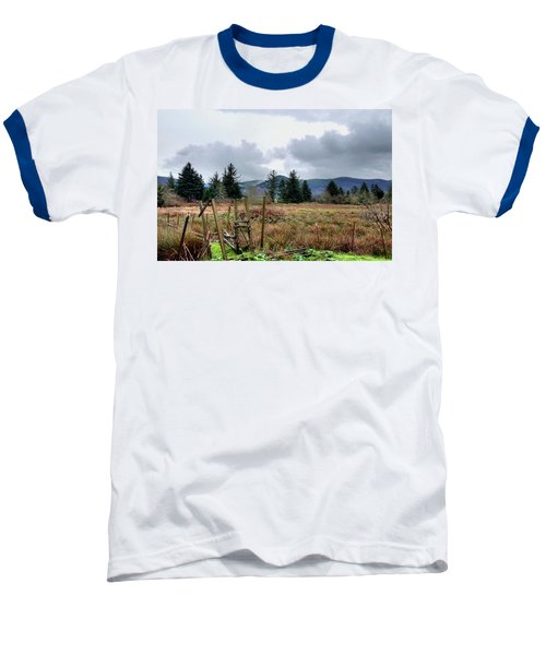 Baseball T-Shirt featuring the photograph Field, Clouds, Distant Foggy Hills by Chriss Pagani