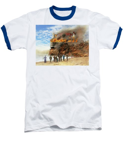 Baseball T-Shirt featuring the photograph Fire - Cliffside Fire 1907 by Mike Savad