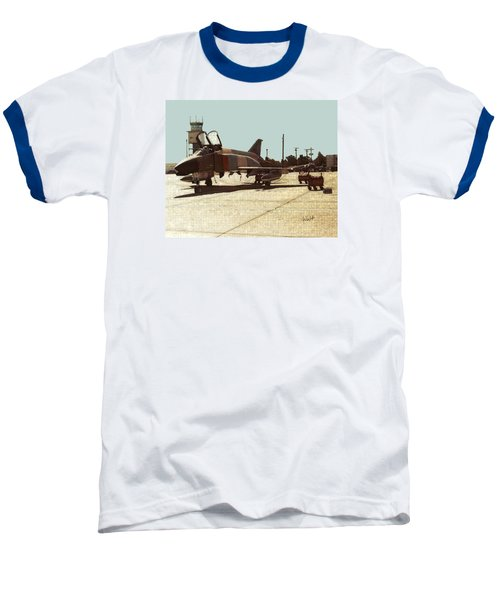 Baseball T-Shirt featuring the digital art First Jet by Walter Chamberlain