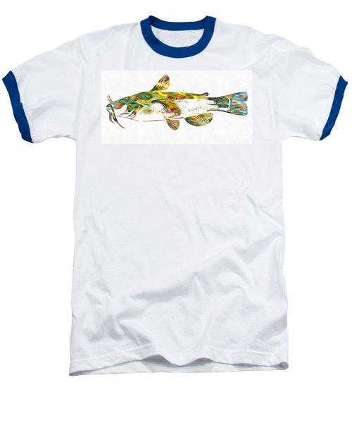 Fish Art Catfish Baseball T-Shirt by Dan Sproul