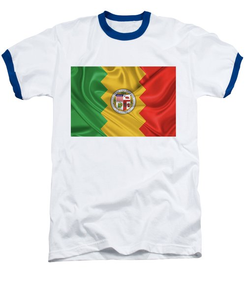 Flag Of The City Of Los Angeles Baseball T-Shirt by Serge Averbukh