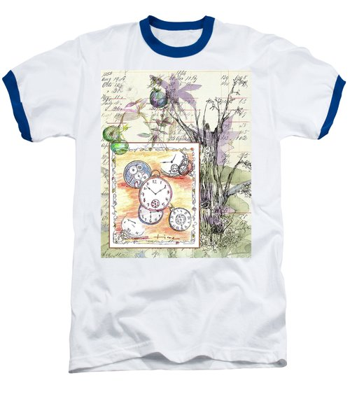 Baseball T-Shirt featuring the drawing Flowers And Time by Cathie Richardson