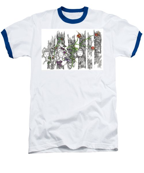 Baseball T-Shirt featuring the drawing Forest Faces by Cathie Richardson