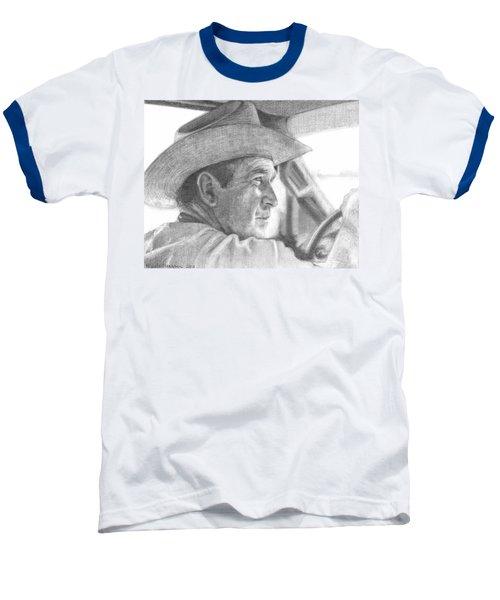 Former Pres. George W. Bush Wearing A Cowboy Hat Baseball T-Shirt by Michelle Flanagan