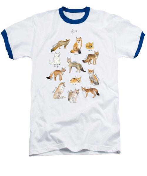 Foxes Baseball T-Shirt by Amy Hamilton
