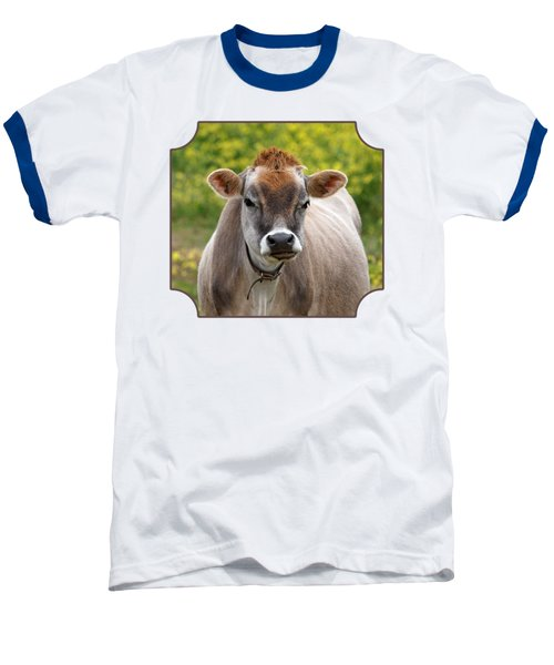 Funny Jersey Cow -square Baseball T-Shirt by Gill Billington