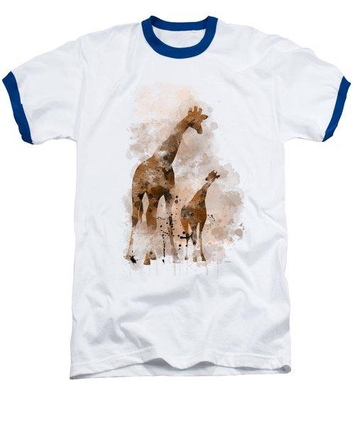 Giraffe And Baby Baseball T-Shirt by Marlene Watson