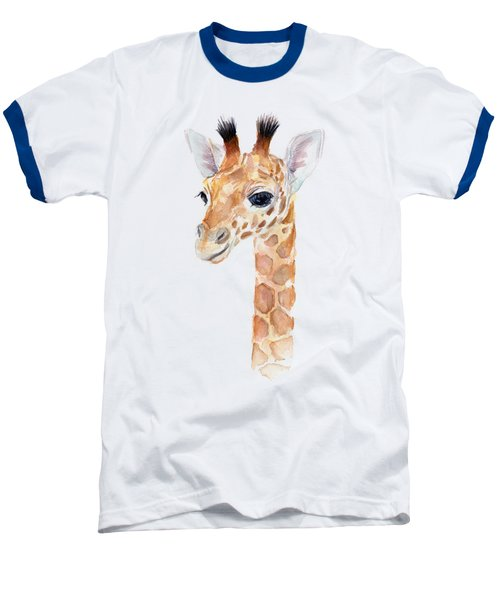 Giraffe Watercolor Baseball T-Shirt by Olga Shvartsur