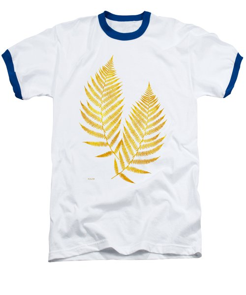 Baseball T-Shirt featuring the mixed media Gold Fern Leaf Art by Christina Rollo