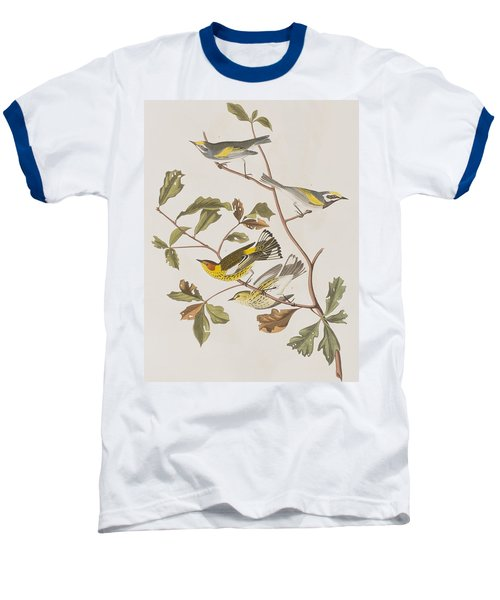 Golden Winged Warbler Or Cape May Warbler Baseball T-Shirt by John James Audubon