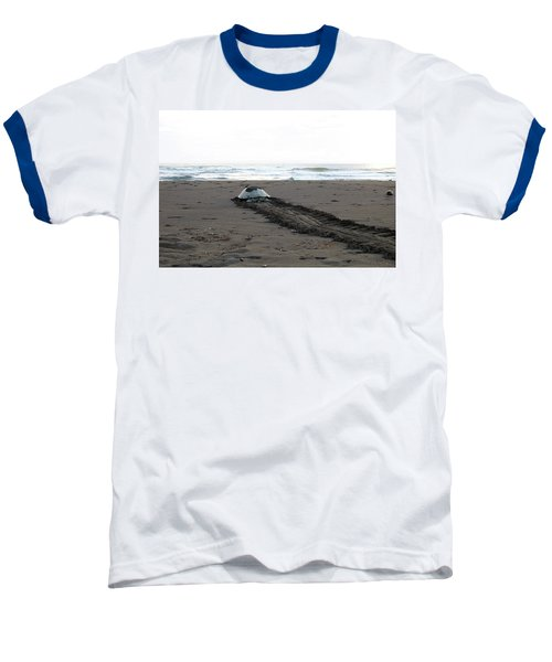 Baseball T-Shirt featuring the photograph Green Sea Turtle Returning To Sea by Breck Bartholomew