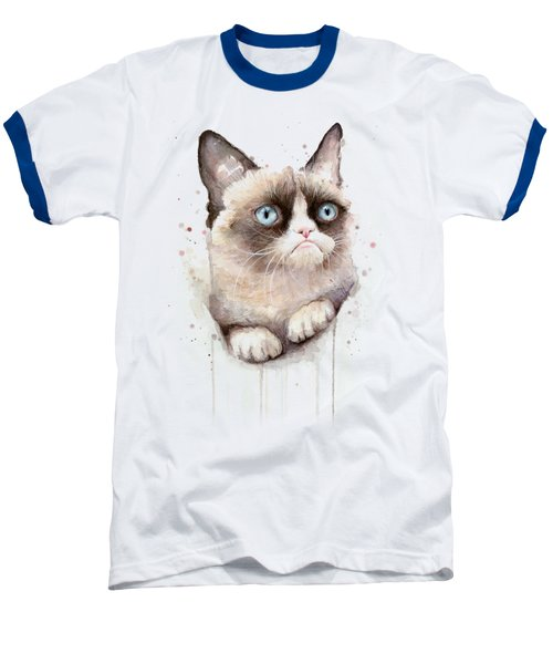 Grumpy Cat Watercolor Baseball T-Shirt by Olga Shvartsur