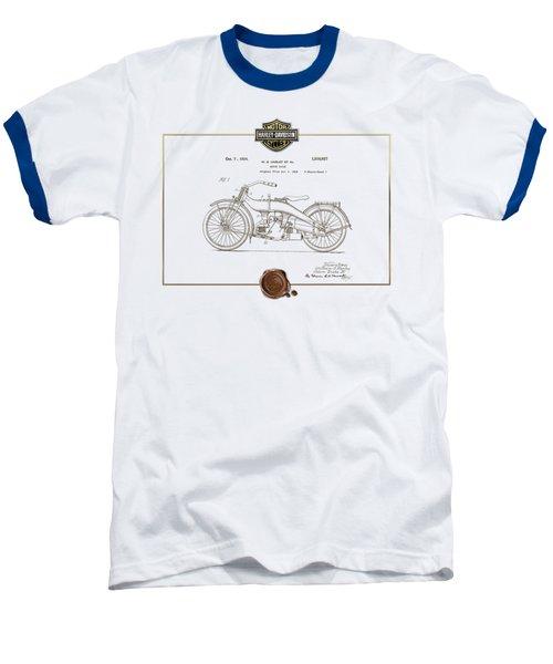 Baseball T-Shirt featuring the digital art Harley-davidson 1924 Vintage Patent Document  by Serge Averbukh
