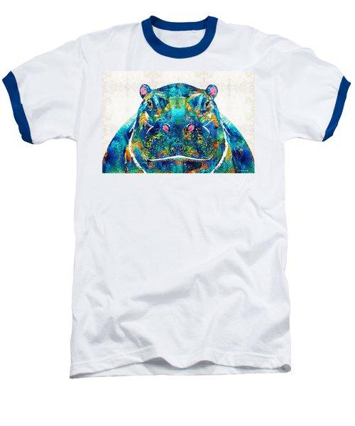 Hippopotamus Art - Happy Hippo - By Sharon Cummings Baseball T-Shirt by Sharon Cummings