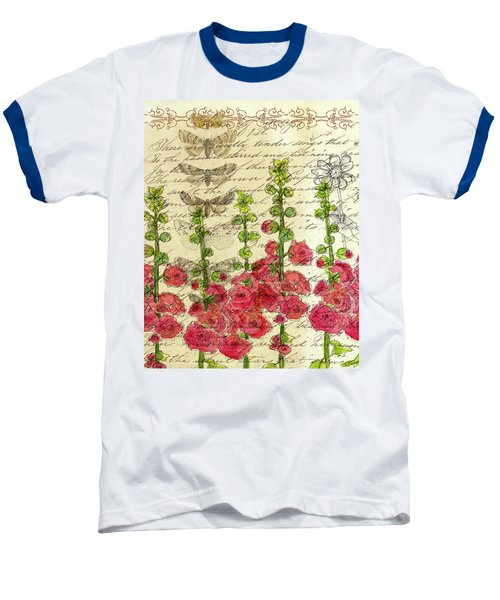 Baseball T-Shirt featuring the drawing Hollyhocks And Butterflies  by Cathie Richardson