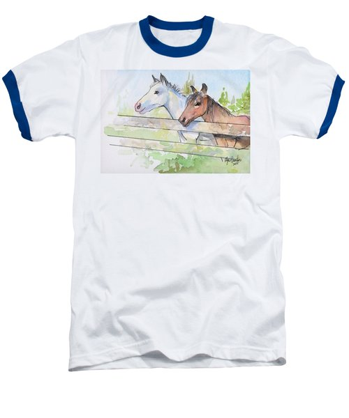 Horses Watercolor Sketch Baseball T-Shirt by Olga Shvartsur