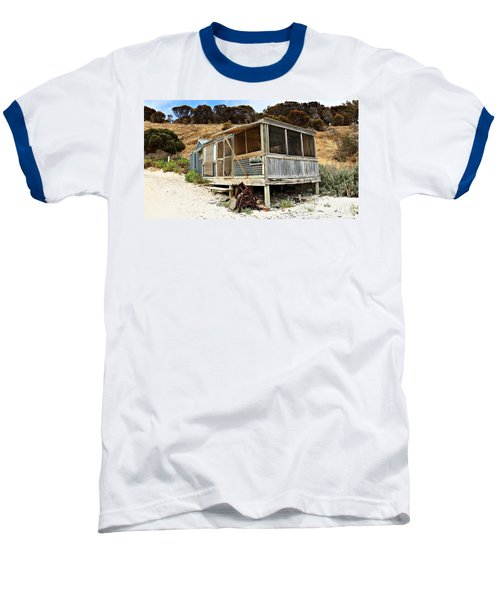 Baseball T-Shirt featuring the photograph Hut At Western River Cove by Stephen Mitchell