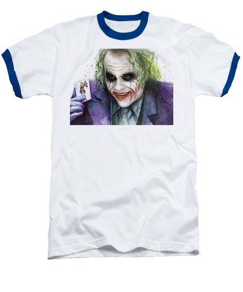 Joker Watercolor Portrait Baseball T-Shirt by Olga Shvartsur
