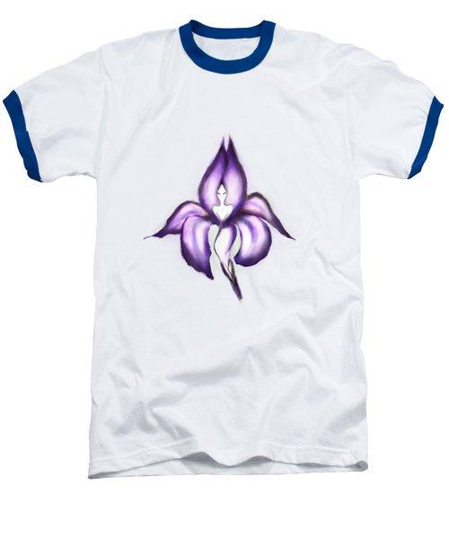 Lady Iris Baseball T-Shirt by Awen Fine Art Prints