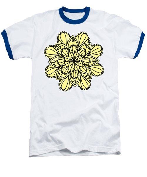 Lemon Lily Mandala Baseball T-Shirt by Georgiana Romanovna